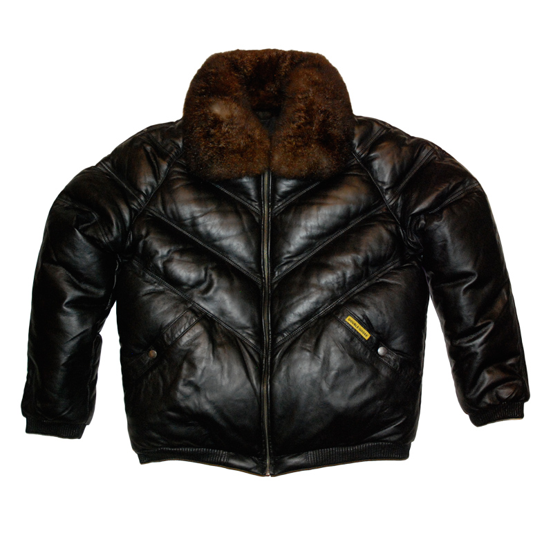 Double Goose Black Leather Quilted V Bomber Jacket