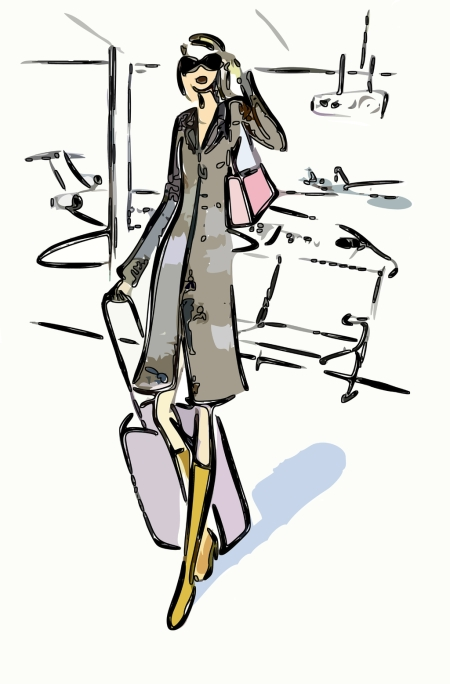 Woman-with-her-Luggage-at-the-Airport-pop-art_wallpaper